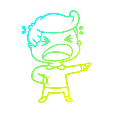 cold gradient line drawing of a cartoon shouting man pointing finger