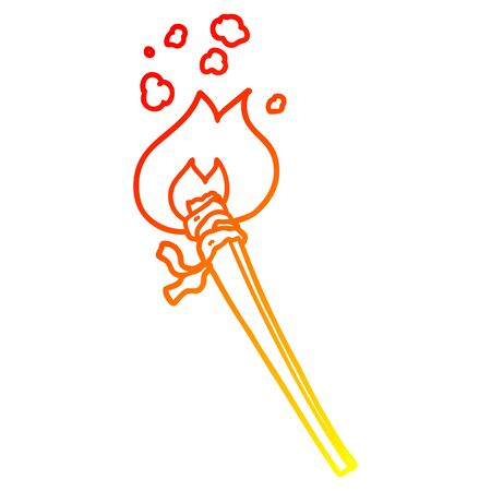 warm gradient line drawing of a cartoon burning torch