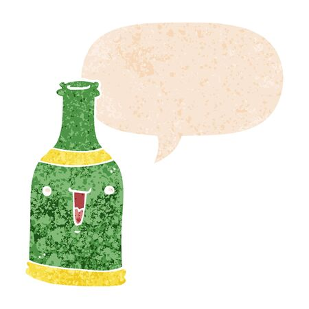 cartoon beer bottle with speech bubble in grunge distressed retro textured style Illustration
