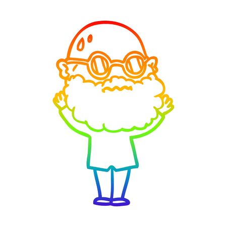 rainbow gradient line drawing of a cartoon worried man with beard and spectacles