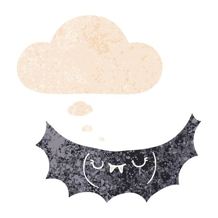 cartoon vampire bat with thought bubble in grunge distressed retro textured style Çizim
