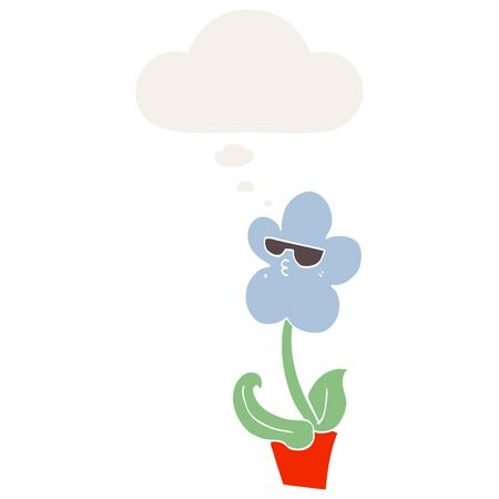 cool cartoon flower with thought bubble in retro style Ilustração