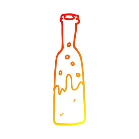warm gradient line drawing of a cartoon bottle of pop Çizim