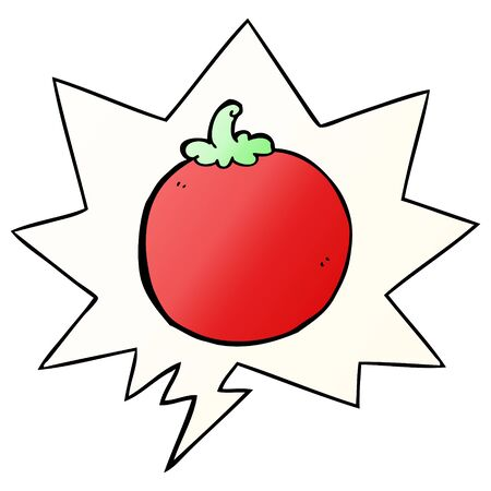 cartoon tomato with speech bubble in smooth gradient style Ilustração