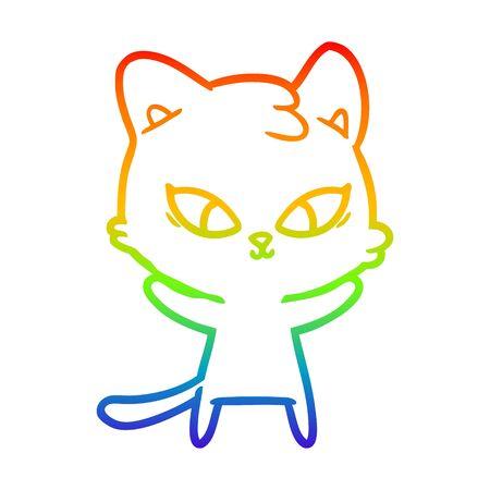 rainbow gradient line drawing of a cute cartoon cat