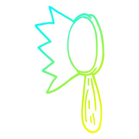 cold gradient line drawing of a cartoon magnifying glass