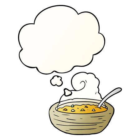 cartoon bowl of hot soup with thought bubble in smooth gradient style