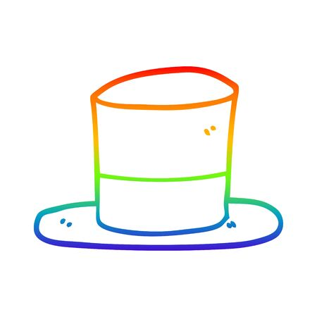 rainbow gradient line drawing of a cartoon top hat