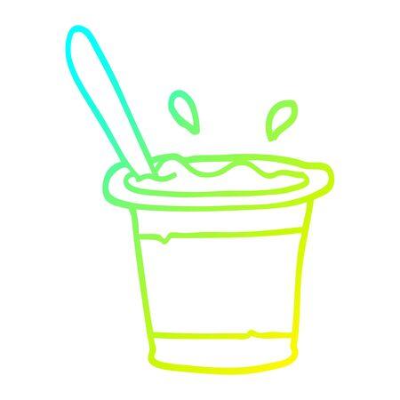 cold gradient line drawing of a cartoon yogurt