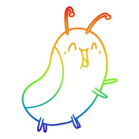 rainbow gradient line drawing of a cartoon happy bug Foto de archivo - 128410469