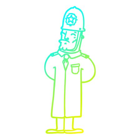 cold gradient line drawing of a cartoon policeman  イラスト・ベクター素材