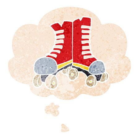 cartoon roller boots with thought bubble in grunge distressed retro textured style
