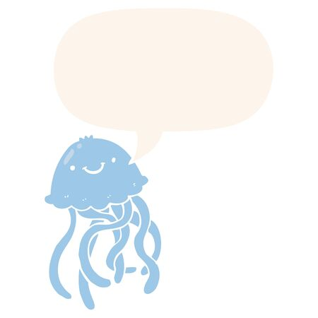 cartoon happy jellyfish with speech bubble in retro style 向量圖像