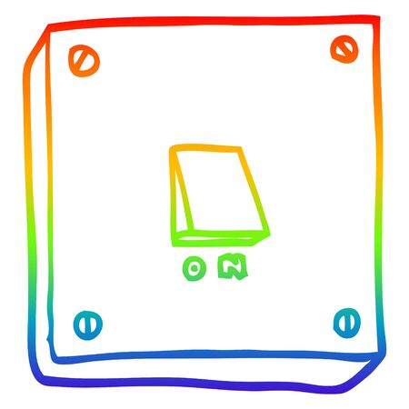 rainbow gradient line drawing of a cartoon light switch