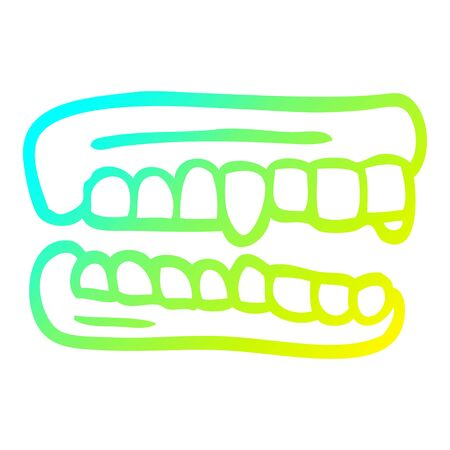 cold gradient line drawing of a cartoon false teeth