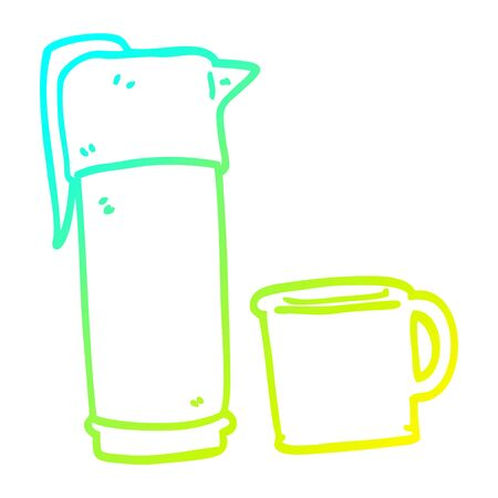 cold gradient line drawing of a cartoon coffee vaccum flask