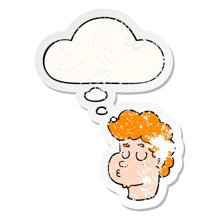 cartoon male face with thought bubble as a distressed worn sticker