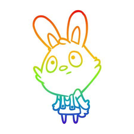 rainbow gradient line drawing of a cute rabbit shrugging shoulders Ilustração