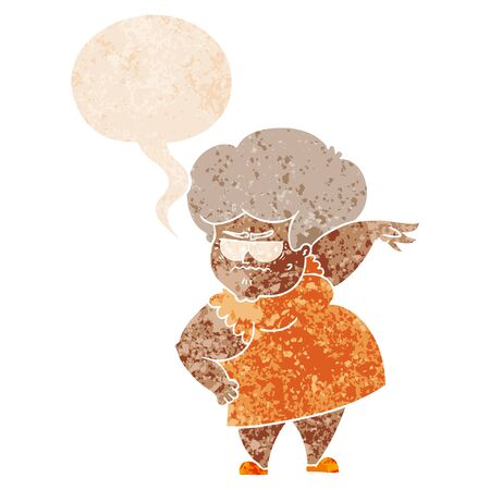 cartoon angry old woman with speech bubble in grunge distressed retro textured style Çizim