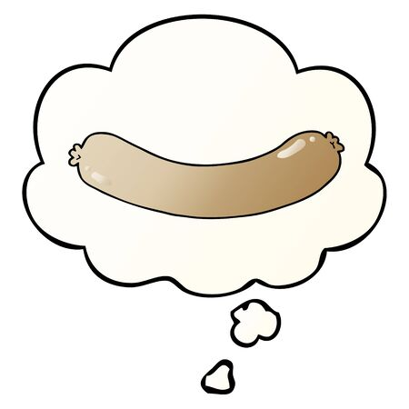 cartoon sausage with thought bubble in smooth gradient style