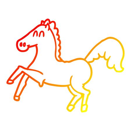 warm gradient line drawing of a cartoon horse rearing up