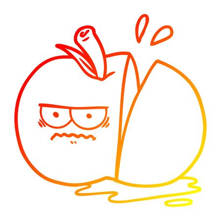 warm gradient line drawing of a cartoon angry sliced apple Иллюстрация