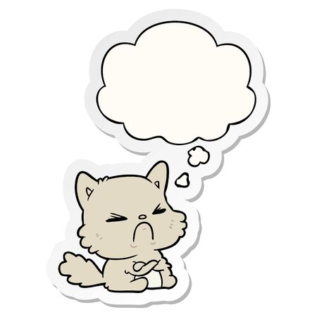 cartoon angry cat with thought bubble as a printed sticker Illustration