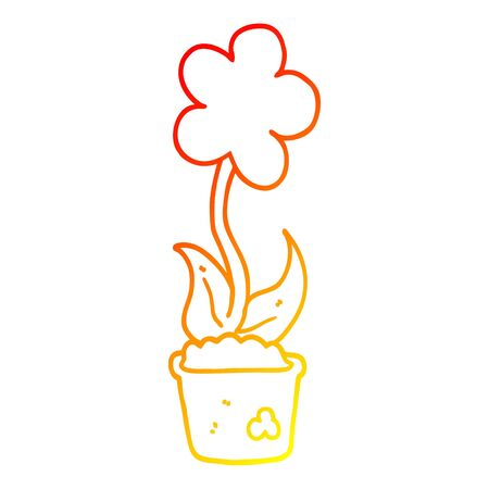 warm gradient line drawing of a cute cartoon flower