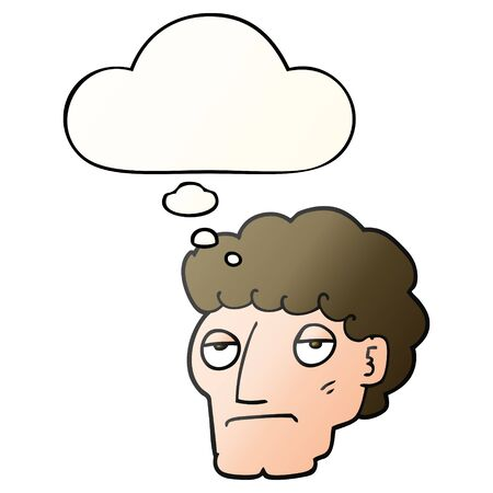 cartoon bored man with thought bubble in smooth gradient style Ilustração