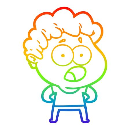 rainbow gradient line drawing of a cartoon man gasping in surprise Banco de Imagens - 128410644