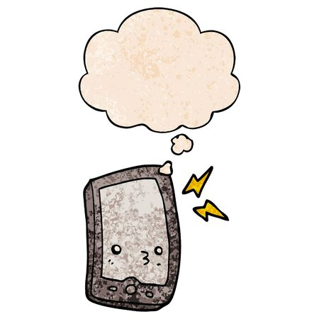 cartoon mobile phone with thought bubble in grunge texture style Illustration