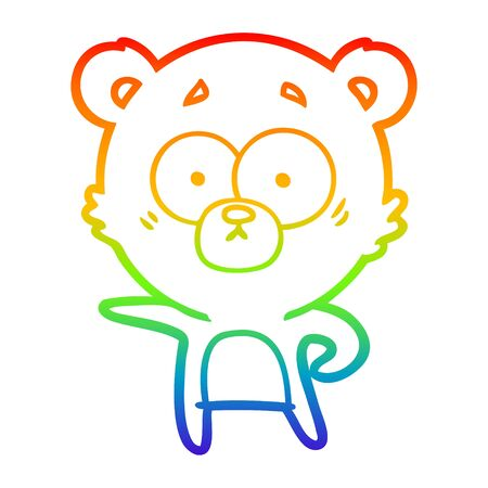 rainbow gradient line drawing of a surprised polar bear cartoon