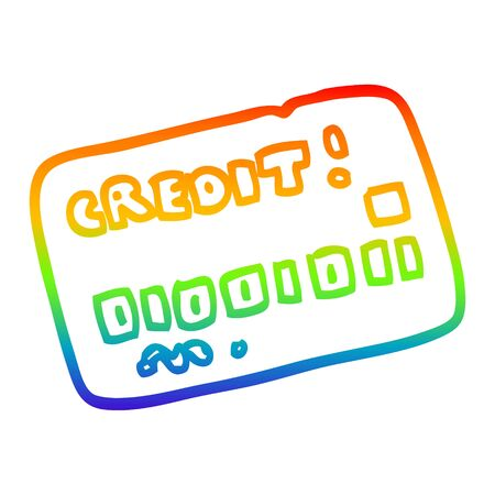 rainbow gradient line drawing of a cartoon credit card Ilustrace