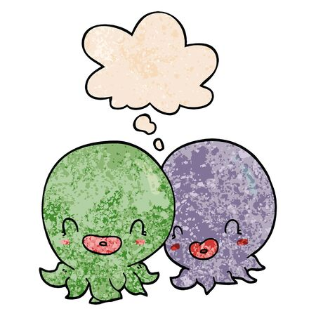 two cartoon octopi  with thought bubble in grunge texture style