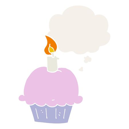 cartoon birthday cupcake with thought bubble in retro style