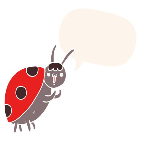 cute cartoon ladybug with speech bubble in retro style Foto de archivo - 128410668