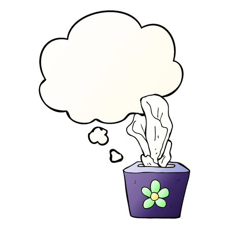 cartoon box of tissues with thought bubble in smooth gradient style Çizim