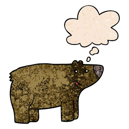 cartoon bear with thought bubble in grunge texture style Vetores