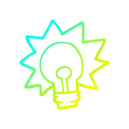 cold gradient line drawing of a cartoon shining light bulb