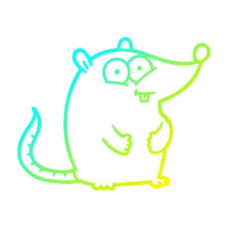 cold gradient line drawing of a cartoon happy white lab mouse Illustration