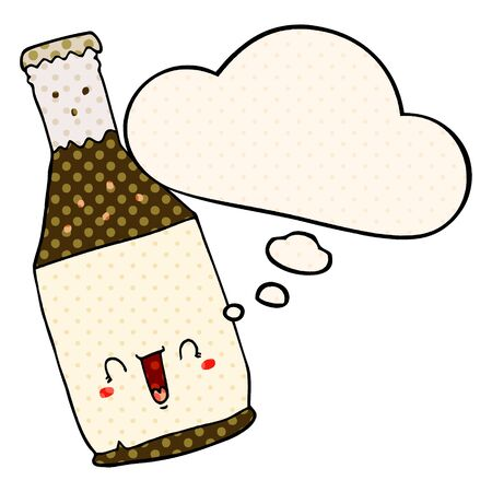 cartoon beer bottle with thought bubble in comic book style