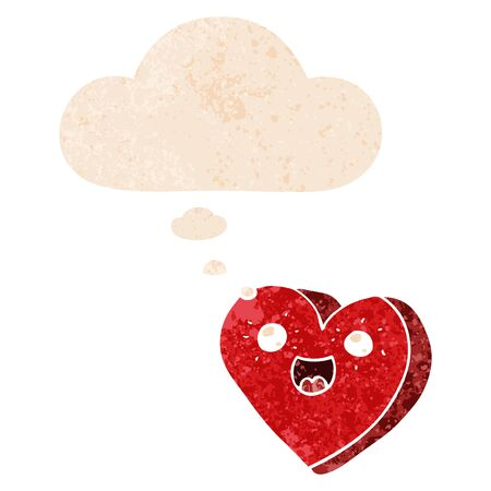 heart cartoon character with thought bubble in grunge distressed retro textured style