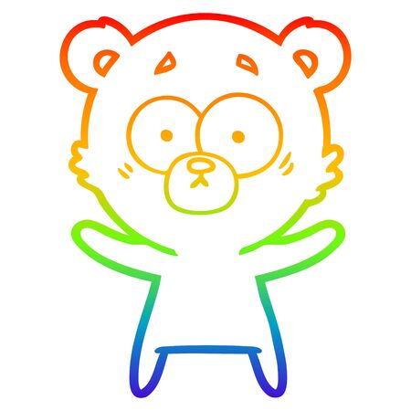 rainbow gradient line drawing of a surprised bear cartoon