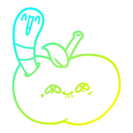 cold gradient line drawing of a cartoon worm in happy apple