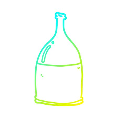 cold gradient line drawing of a cartoon bottle