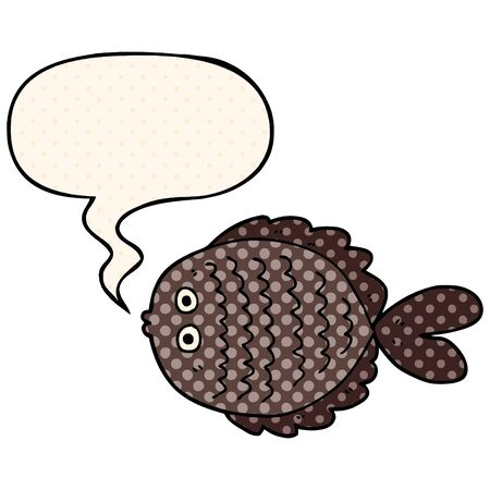 cartoon flat fish with speech bubble in comic book style