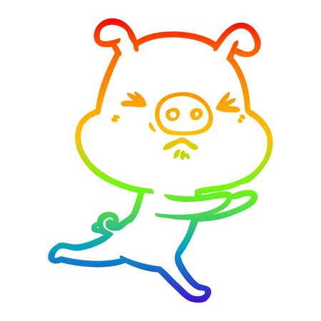 rainbow gradient line drawing of a cartoon annoyed pig running 向量圖像
