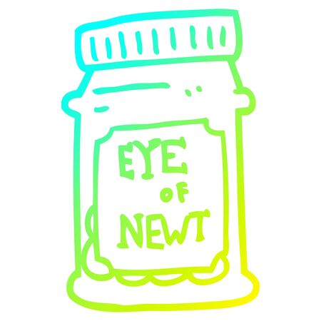 cold gradient line drawing of a cartoon eye of newt bottle