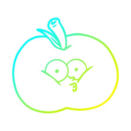 cold gradient line drawing of a cartoon apple