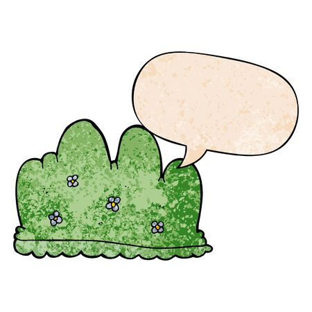 cartoon hedge with speech bubble in retro texture style